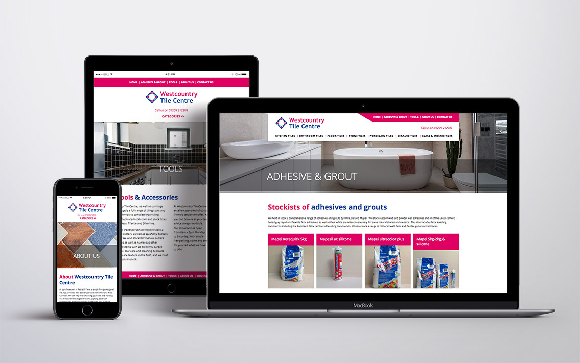 tilecentre website design - Westcountry Tile Centre